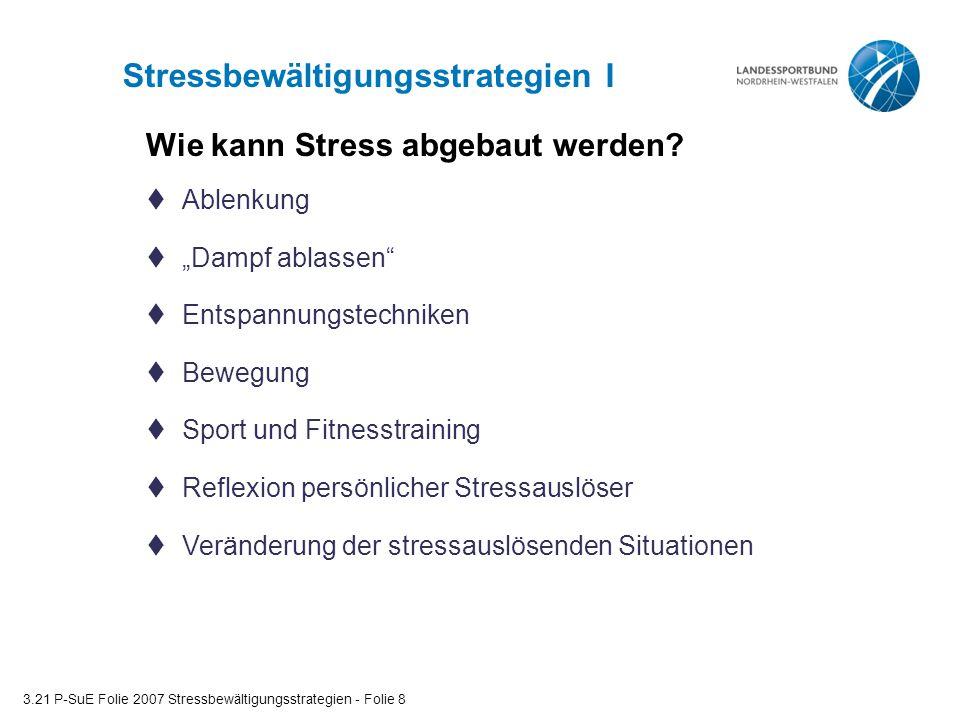 """Stressbewältigungsstrategien I 3.21 P-SuE Folie 2007 Stressbewältigungsstrategien - Folie 8  Ablenkung  """"Dampf ablassen""""  Entspannungstechniken  B"""