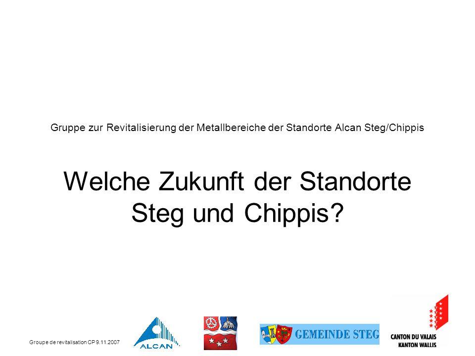 Groupe de revitalisation CP 9.11.2007 Gruppe zur Revitalisierung der Metallbereiche der Standorte Alcan Steg/Chippis Welche Zukunft der Standorte Steg und Chippis