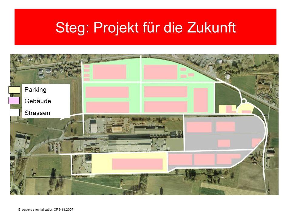 Groupe de revitalisation CP 9.11.2007 Steg: Projekt für die Zukunft Parking Gebäude Strassen