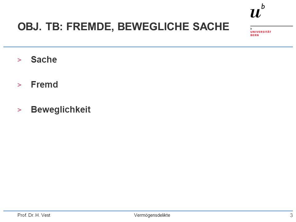 Vermögensdelikte 3 Prof. Dr. H. Vest OBJ. TB: FREMDE, BEWEGLICHE SACHE > Sache > Fremd > Beweglichkeit