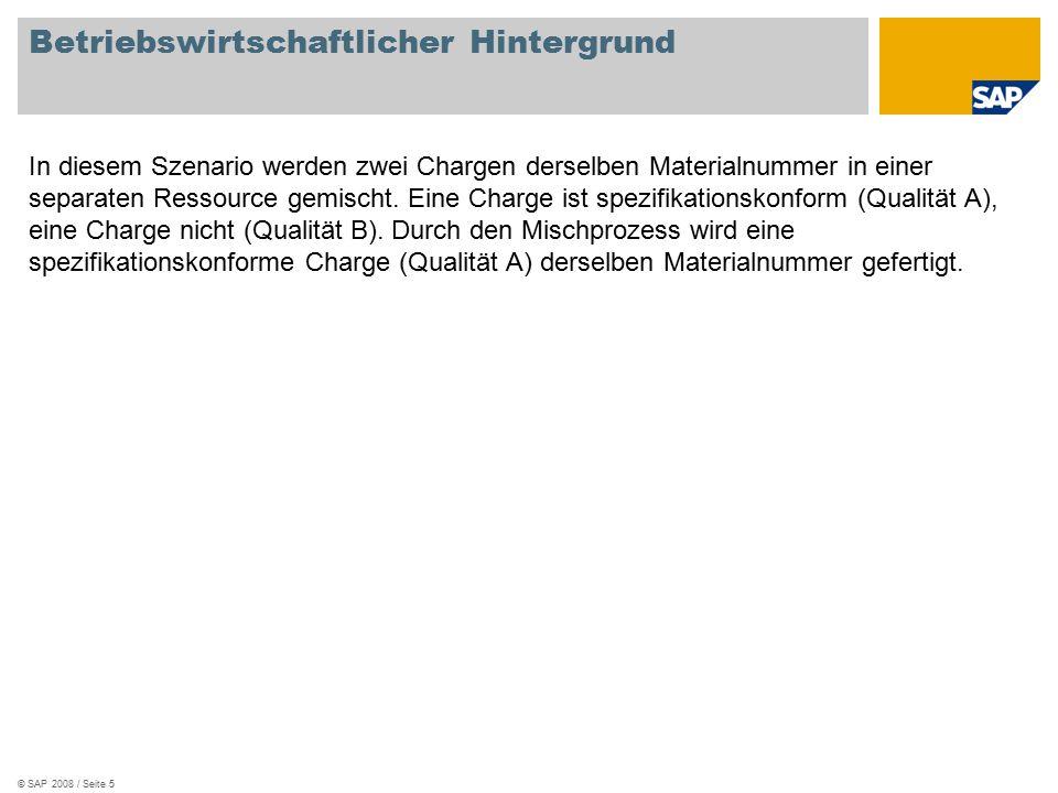 © SAP 2008 / Seite 5 Betriebswirtschaftlicher Hintergrund In diesem Szenario werden zwei Chargen derselben Materialnummer in einer separaten Ressource gemischt.