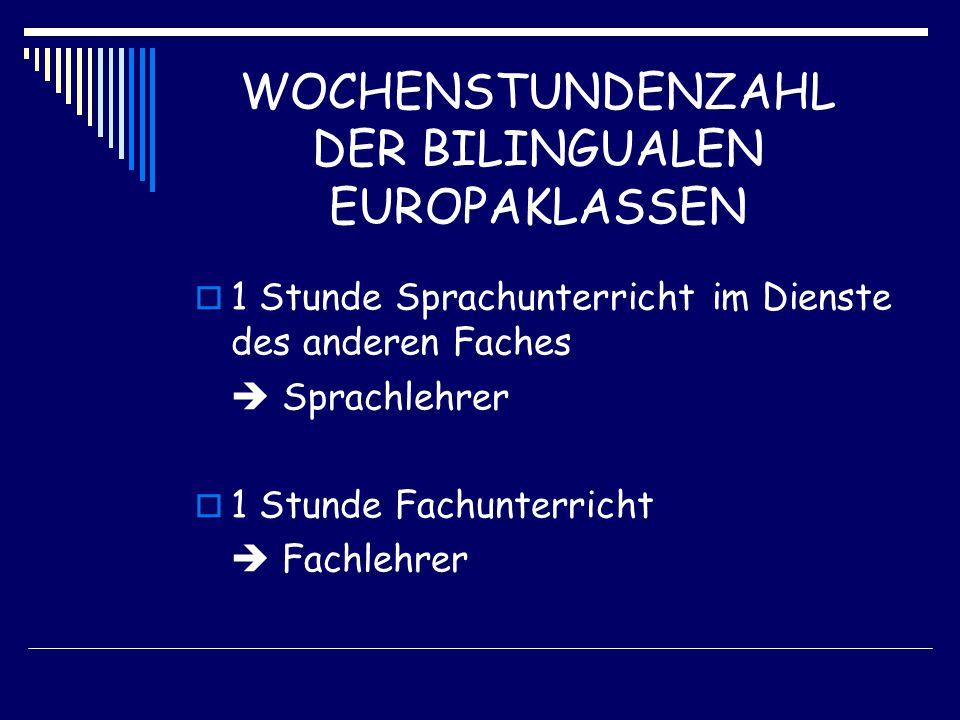WOCHENSTUNDENZAHL DER BILINGUALEN EUROPAKLASSEN  1 Stunde Sprachunterricht im Dienste des anderen Faches  Sprachlehrer  1 Stunde Fachunterricht  Fachlehrer