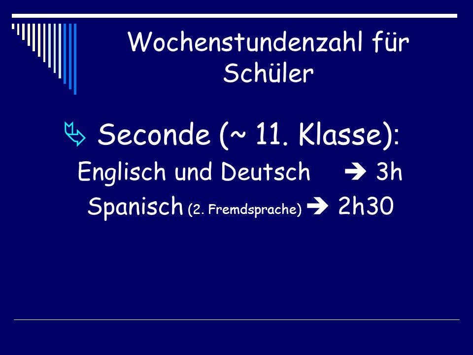 Wochenstundenzahl für Schüler  Seconde (~ 11. Klasse) : Englisch und Deutsch  3h Spanisch (2.