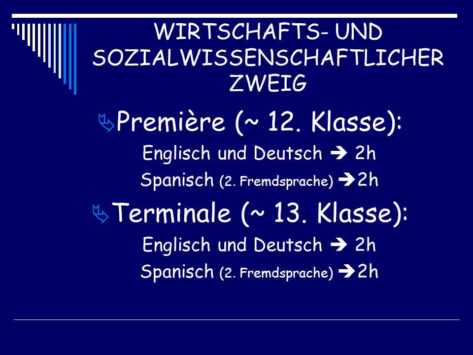 WIRTSCHAFTS- UND SOZIALWISSENSCHAFTLICHER ZWEIG  Première (~ 12.