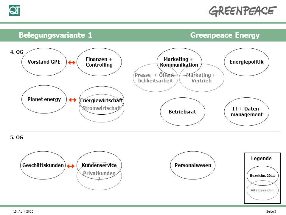 15. April 2010 Seite 3 Belegungsvariante 1Greenpeace Energy Vorstand GPE Geschäftskunden Privatkunden ? Energiepolitik Finanzen + Controlling Personal