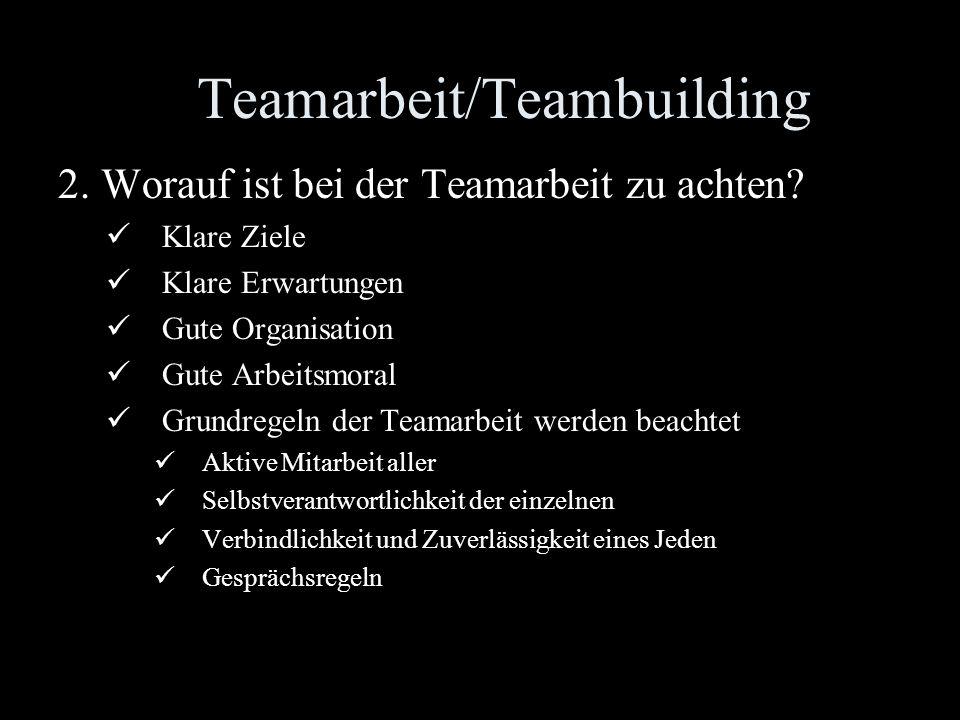 Teamarbeit/Teambuilding 1.Worauf ist bei der Teambildung zu achten? Klare Projekte Strenge Leistungsmaßstäbe Einverständnis mit diesem Arbeitsansatz N