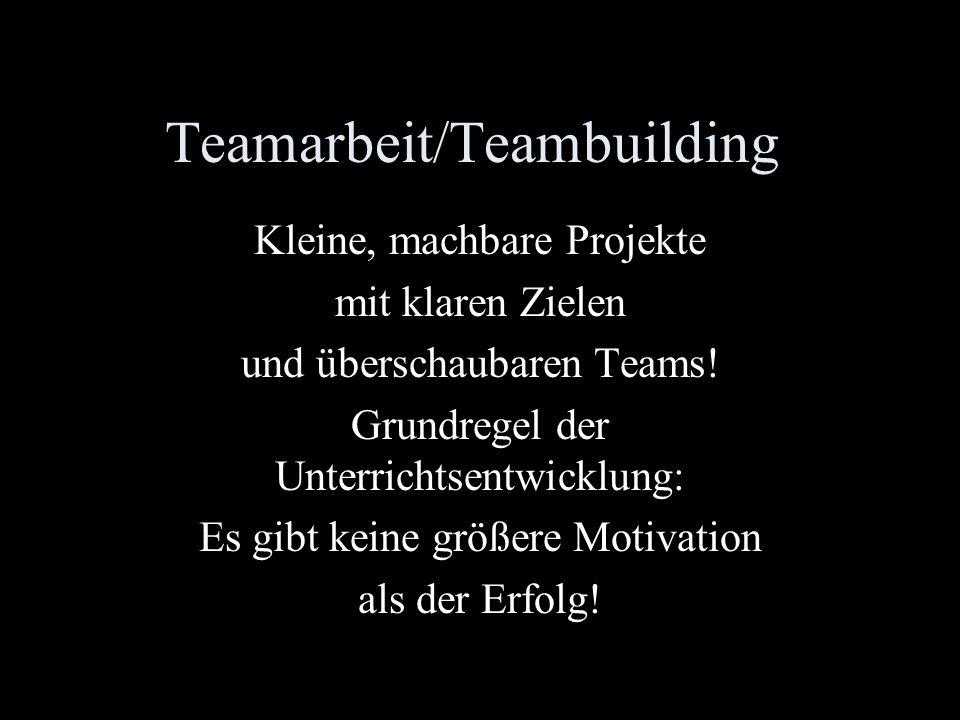 Teamarbeit/Teambuilding Kleine, machbare Projekte mit klaren Zielen und überschaubaren Teams.