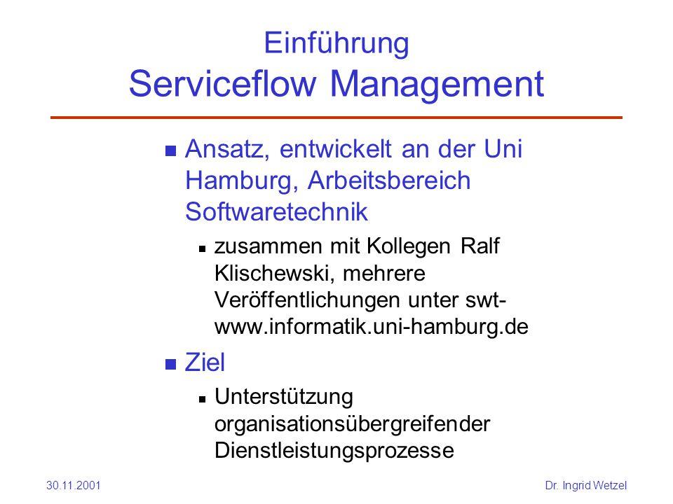 30.11.2001Dr. Ingrid Wetzel Einführung Serviceflow Management  Ansatz, entwickelt an der Uni Hamburg, Arbeitsbereich Softwaretechnik  zusammen mit K
