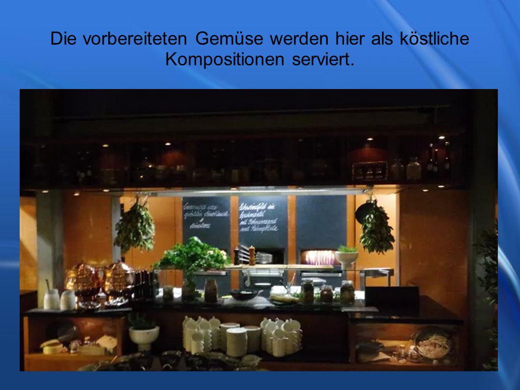 Die vorbereiteten Gemüse werden hier als köstliche Kompositionen serviert.
