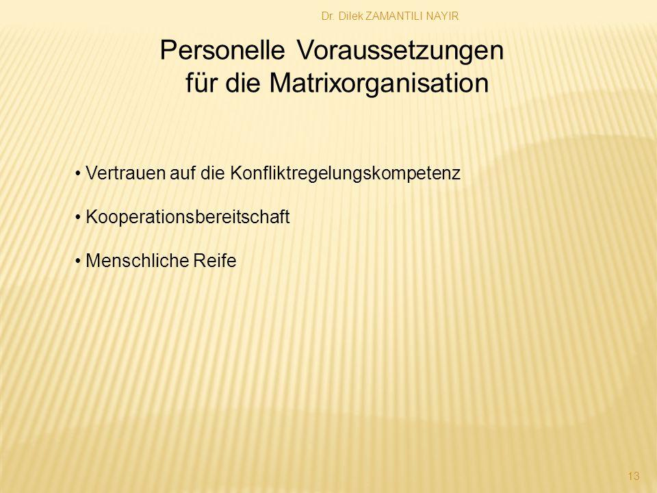 Dr. Dilek ZAMANTILI NAYIR 13 Personelle Voraussetzungen für die Matrixorganisation Vertrauen auf die Konfliktregelungskompetenz Kooperationsbereitscha
