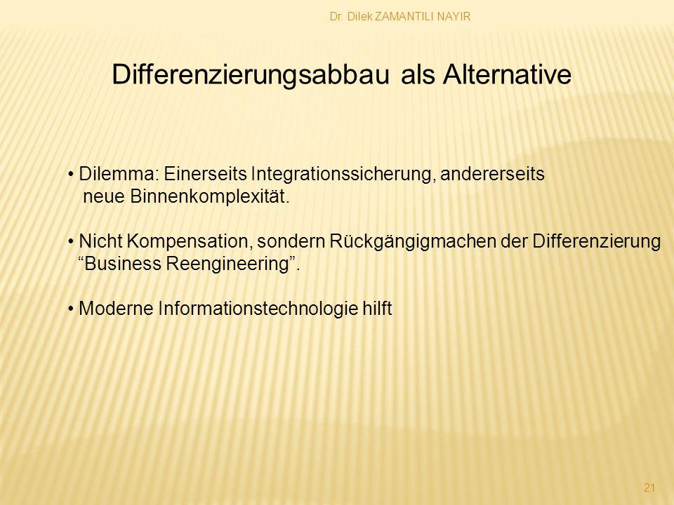 Dr. Dilek ZAMANTILI NAYIR 21 Differenzierungsabbau als Alternative Dilemma: Einerseits Integrationssicherung, andererseits neue Binnenkomplexität. Nic