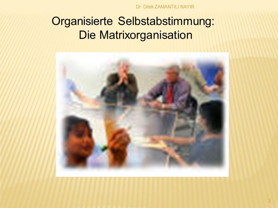 Dr. Dilek ZAMANTILI NAYIR 3 Organisierte Selbstabstimmung: Die Matrixorganisation