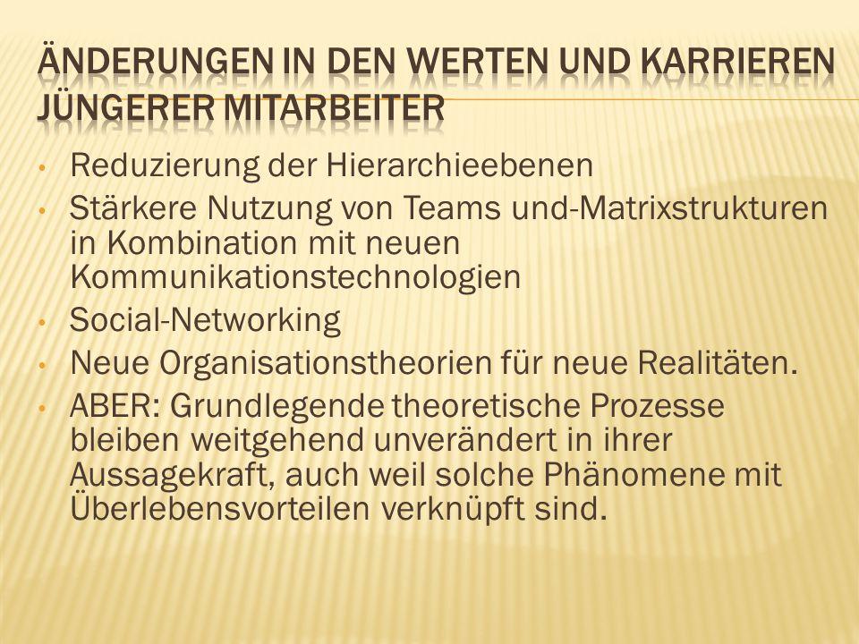 Reduzierung der Hierarchieebenen Stärkere Nutzung von Teams und-Matrixstrukturen in Kombination mit neuen Kommunikationstechnologien Social-Networking Neue Organisationstheorien für neue Realitäten.