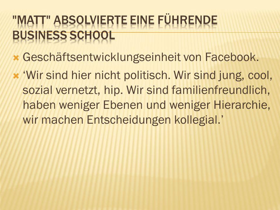  Geschäftsentwicklungseinheit von Facebook. 'Wir sind hier nicht politisch.