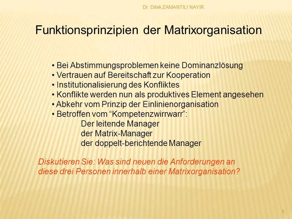 Dr. Dilek ZAMANTILI NAYIR 8 Funktionsprinzipien der Matrixorganisation Bei Abstimmungsproblemen keine Dominanzlösung Vertrauen auf Bereitschaft zur Ko