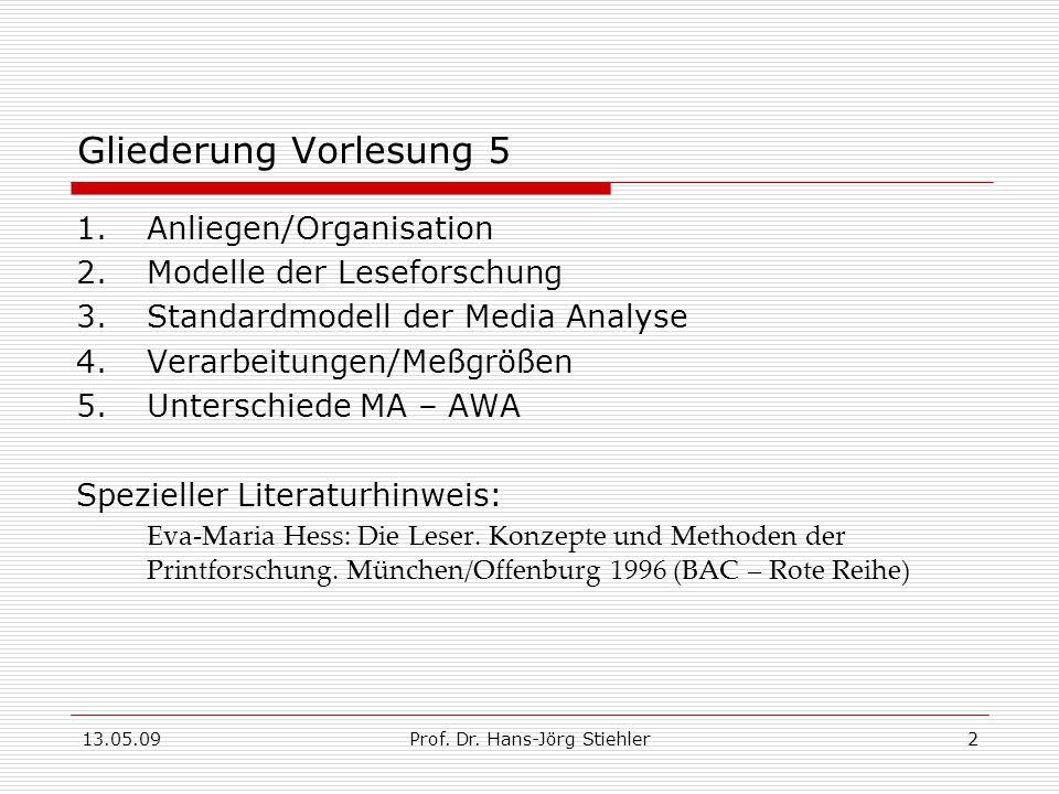 13.05.09Prof.Dr. Hans-Jörg Stiehler2 Gliederung Vorlesung 5 1.