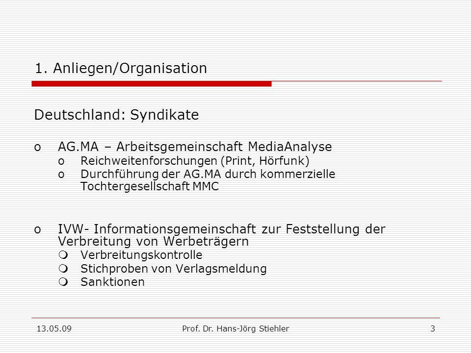 13.05.09Prof.Dr. Hans-Jörg Stiehler3 1.