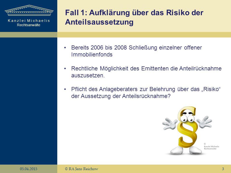K a n z l e i M i c h a e l i s Rechtsanwälte 05.04.2015© RA Jens Reichow3 Fall 1: Aufklärung über das Risiko der Anteilsaussetzung Bereits 2006 bis 2