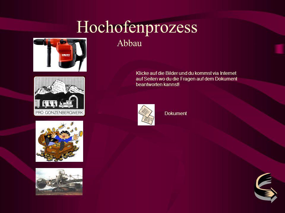 Hochofenprozess Abbau Klicke auf die Bilder und du kommst via Internet auf Seiten wo du die Fragen auf dem Dokument beantworten kannst! Dokument