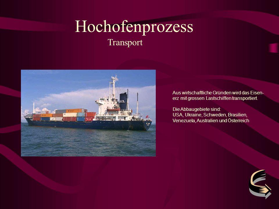 Hochofenprozess Transport Aus wirtschaftliche Gründen wird das Eisen- erz mit grossen Lastschiffen transportiert. Die Abbaugebiete sind: USA, Ukraine,