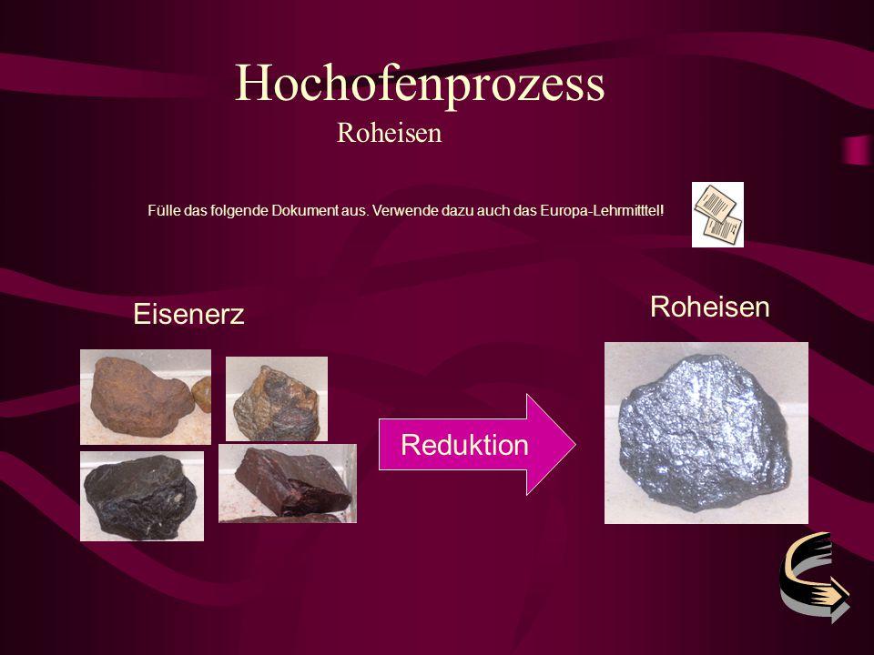 Hochofenprozess Roheisen Fülle das folgende Dokument aus. Verwende dazu auch das Europa-Lehrmitttel! Reduktion Eisenerz Roheisen