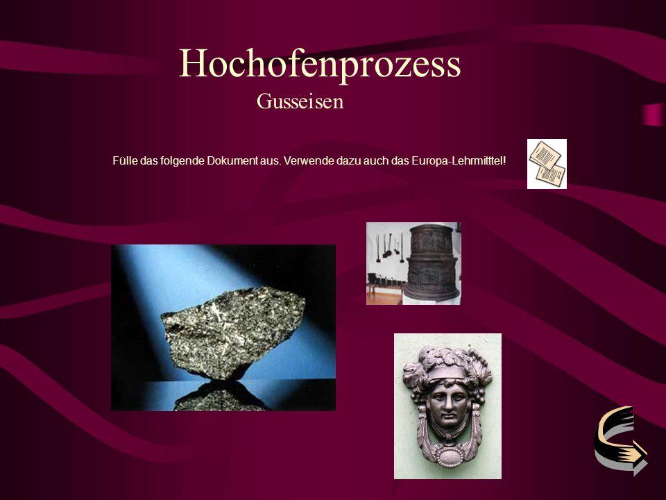 Hochofenprozess Gusseisen Fülle das folgende Dokument aus. Verwende dazu auch das Europa-Lehrmitttel!
