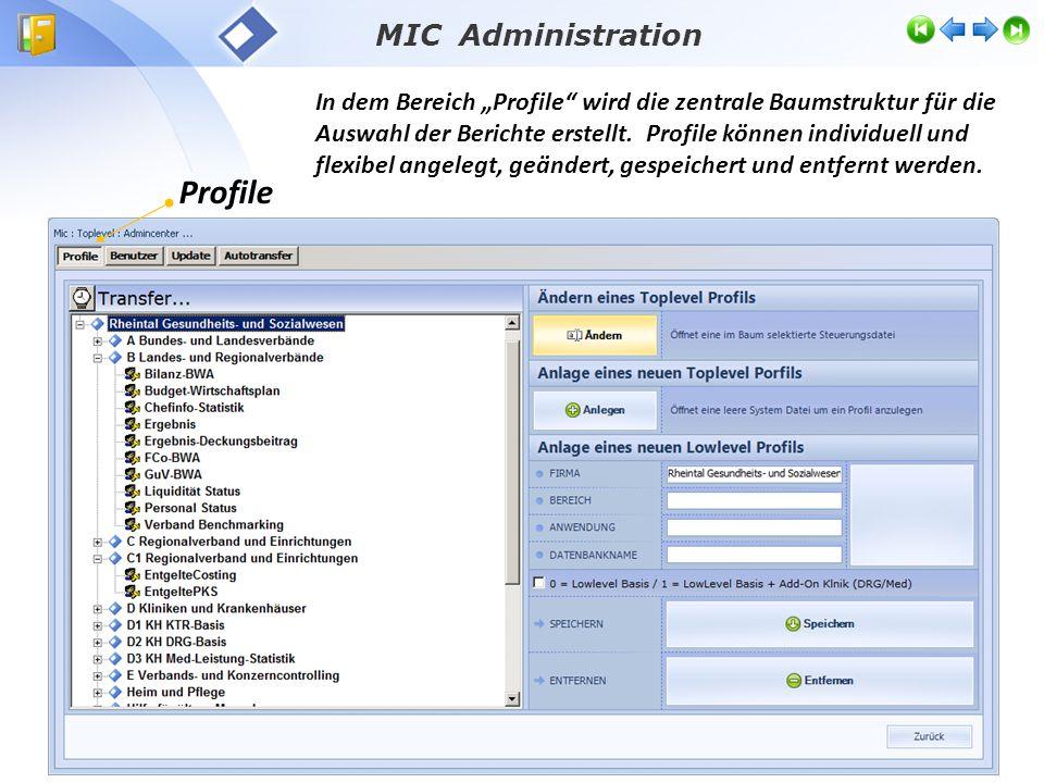 """MIC Administration In dem Bereich """"Profile wird die zentrale Baumstruktur für die Auswahl der Berichte erstellt."""