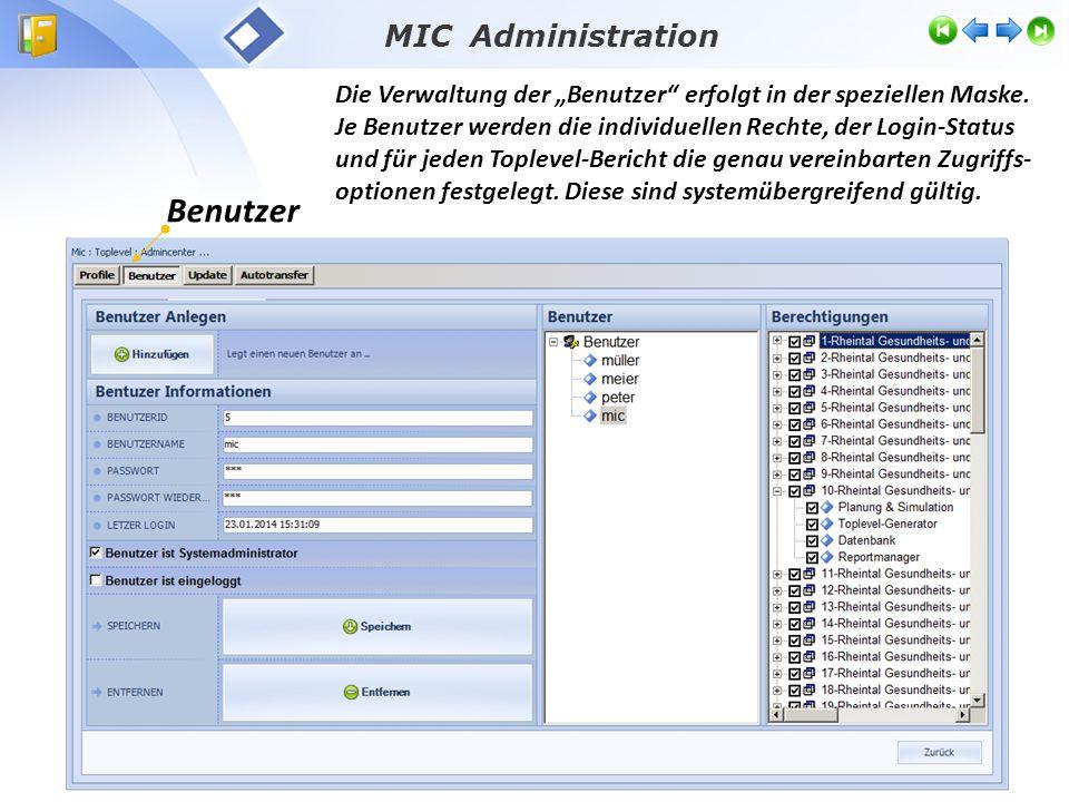 MIC Administration Update Update-Routinen für den laufenden Systembetrieb und für standardisierte Aktualisierung nach Änderungen in Anlagen und Konfigurationen:  Programmdateien,  Steuerungsdateien und  Neu generierte Topleveldateien.