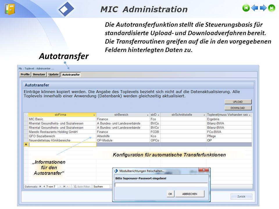 MIC Administration Autotransfer Die Autotransferfunktion stellt die Steuerungsbasis für standardisierte Upload- und Downloadverfahren bereit.