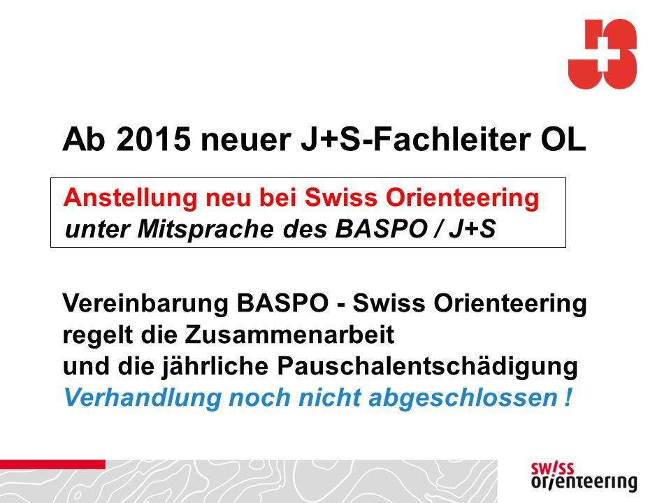 Ab 2015 neuer J+S-Fachleiter OL Anstellung neu bei Swiss Orienteering unter Mitsprache des BASPO / J+S Vereinbarung BASPO - Swiss Orienteering regelt