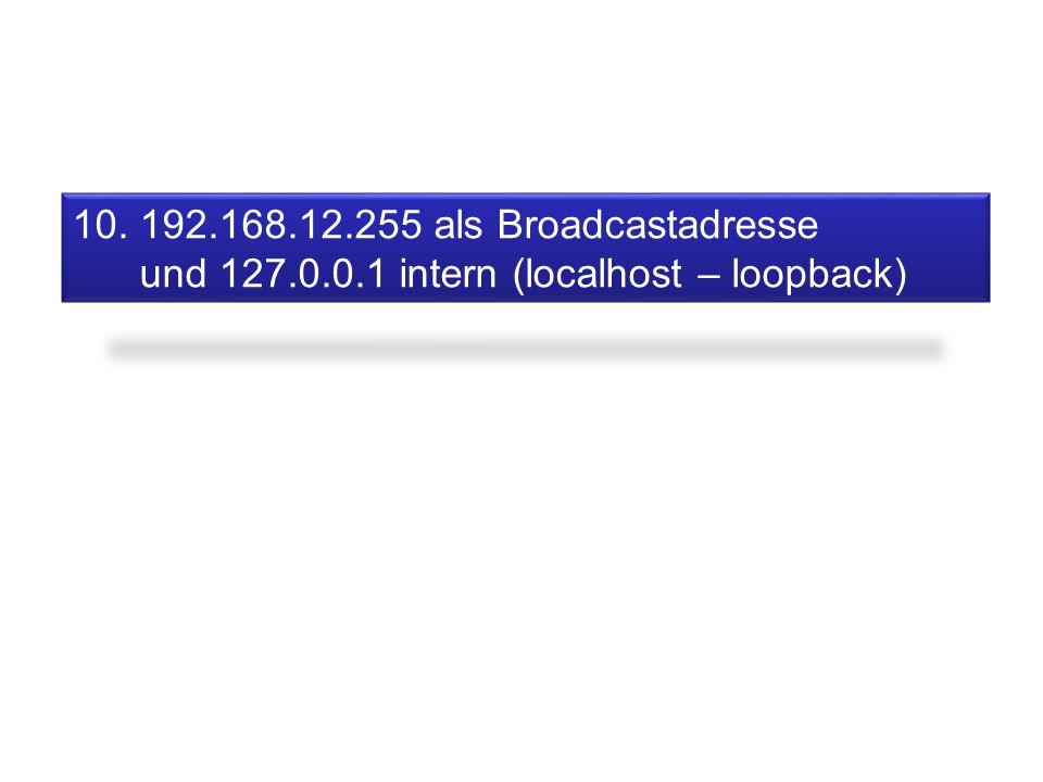 10. 192.168.12.255 als Broadcastadresse und 127.0.0.1 intern (localhost – loopback)