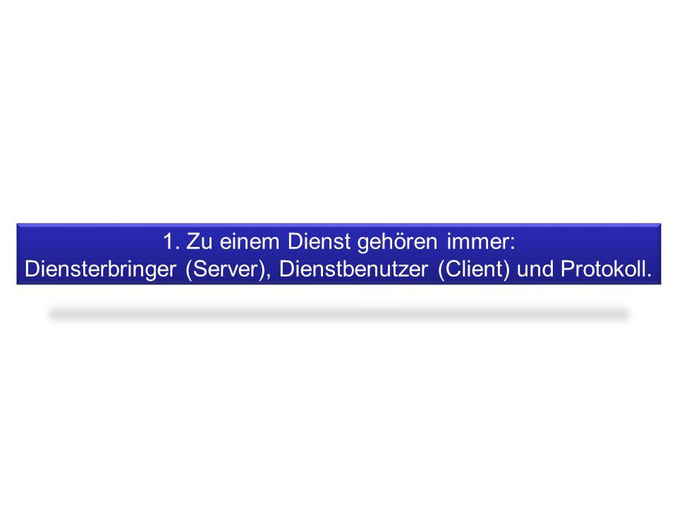 1. Zu einem Dienst gehören immer: Diensterbringer (Server), Dienstbenutzer (Client) und Protokoll.