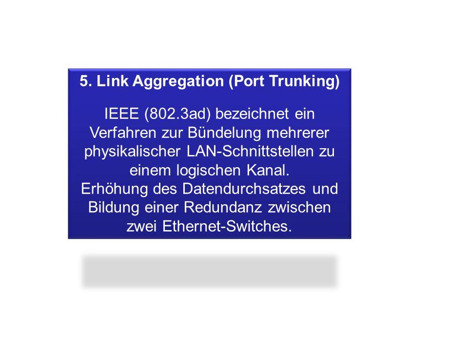 5. Link Aggregation (Port Trunking) IEEE (802.3ad) bezeichnet ein Verfahren zur Bündelung mehrerer physikalischer LAN-Schnittstellen zu einem logische
