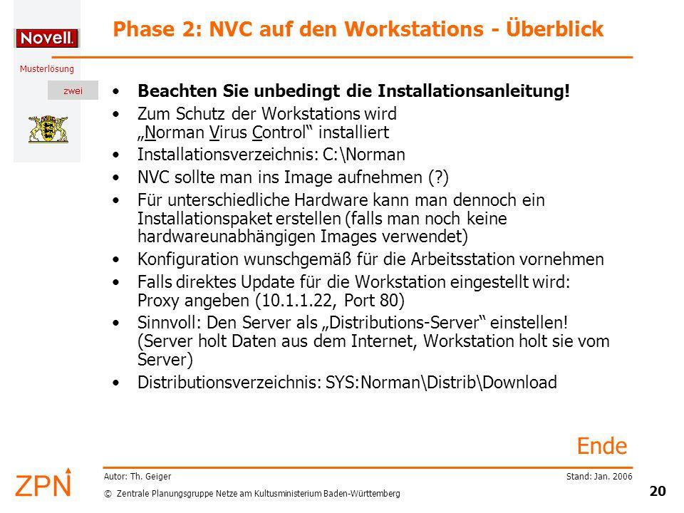 © Zentrale Planungsgruppe Netze am Kultusministerium Baden-Württemberg Musterlösung Stand: Jan. 2006 20 Autor: Th. Geiger Phase 2: NVC auf den Worksta