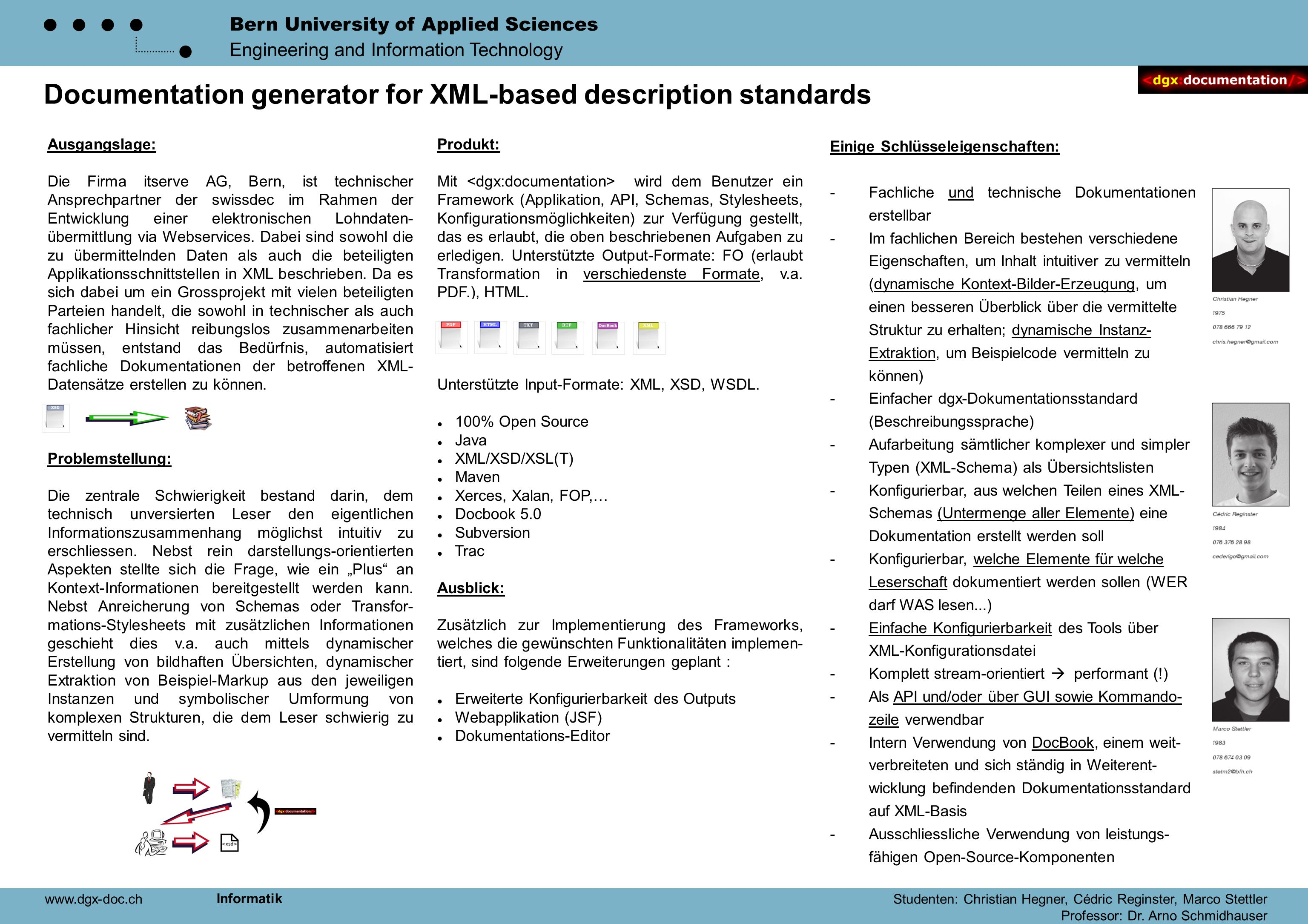 Bern University of Applied Sciences Engineering and Information Technology Documentation generator for XML-based description standards Ausgangslage: D
