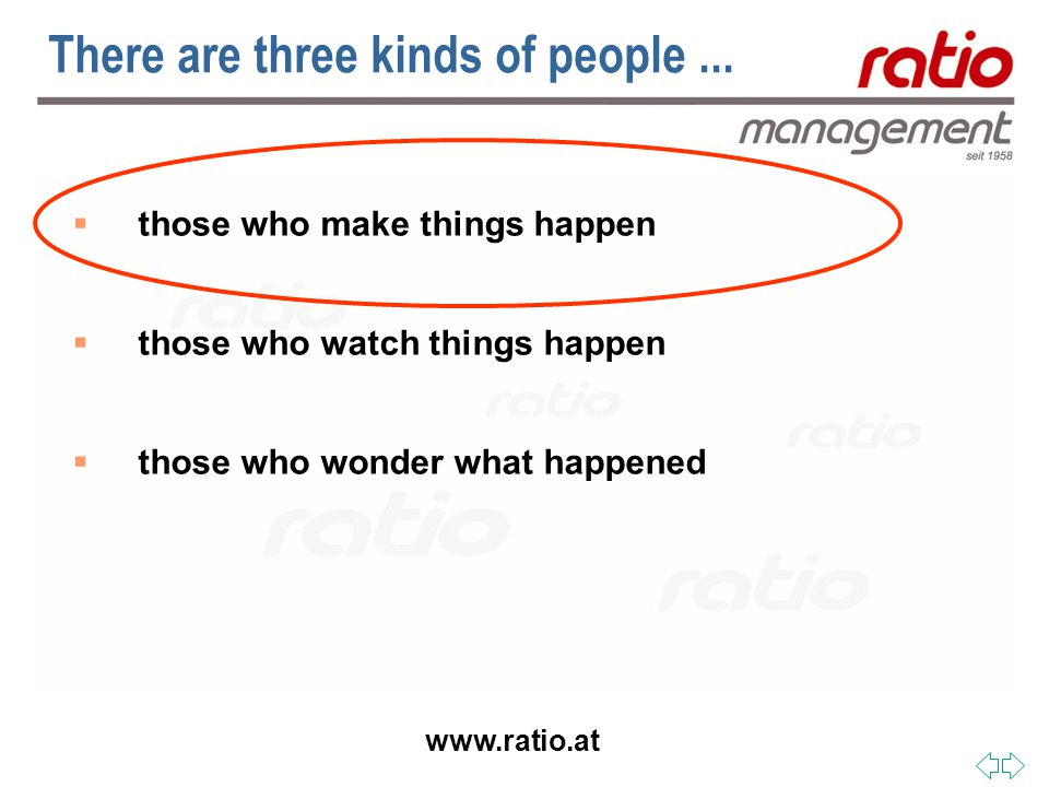 www.ratio.at  those who make things happen  those who watch things happen  those who wonder what happened There are three kinds of people...