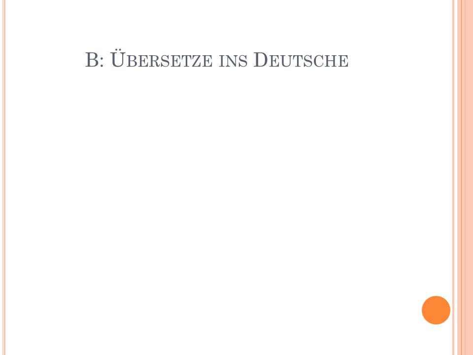 B: Ü BERSETZE INS D EUTSCHE
