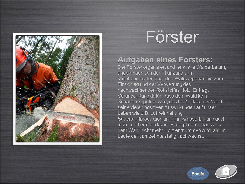 Förster Aufgaben eines Försters: Der Förster organisiert und lenkt alle Waldarbeiten, angefangen von der Pflanzung von Mischbaumarten über den Waldweg