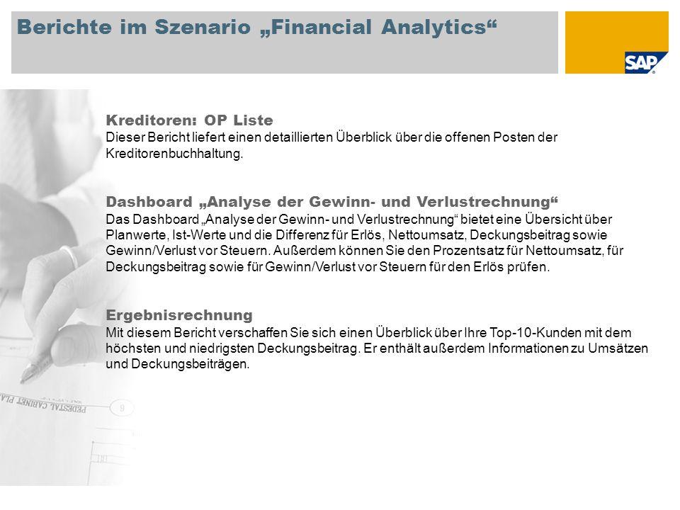"""Berichte im Szenario """"Financial Analytics Kreditoren: OP Liste Dieser Bericht liefert einen detaillierten Überblick über die offenen Posten der Kreditorenbuchhaltung."""
