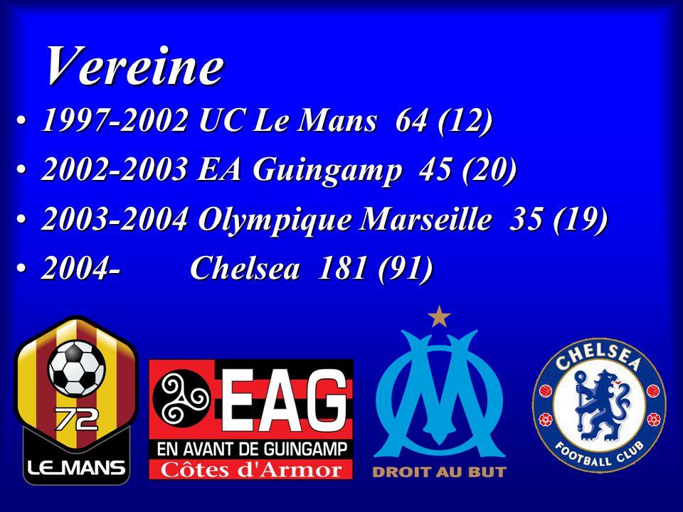 Vereine 1997-2002 UC Le Mans 64 (12)1997-2002 UC Le Mans 64 (12) 2002-2003 EA Guingamp 45 (20)2002-2003 EA Guingamp 45 (20) 2003-2004 Olympique Marsei
