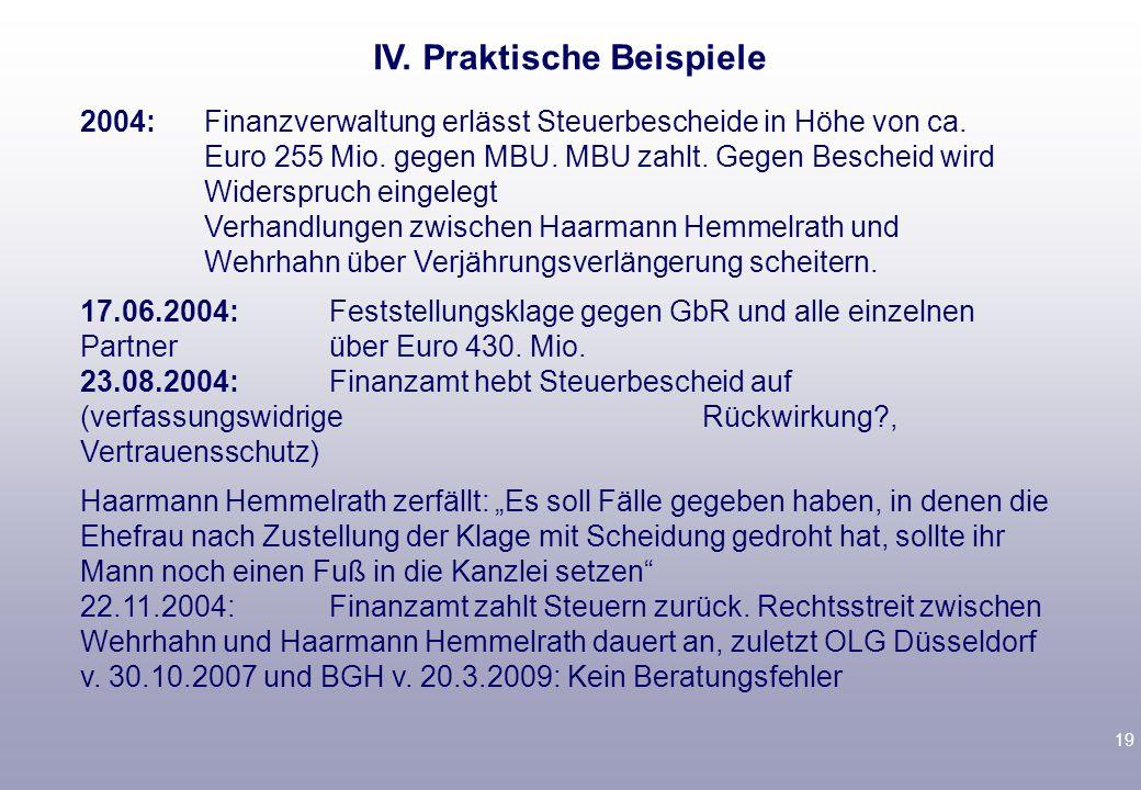 19 2004:Finanzverwaltung erlässt Steuerbescheide in Höhe von ca. Euro 255 Mio. gegen MBU. MBU zahlt. Gegen Bescheid wird Widerspruch eingelegt Verhand
