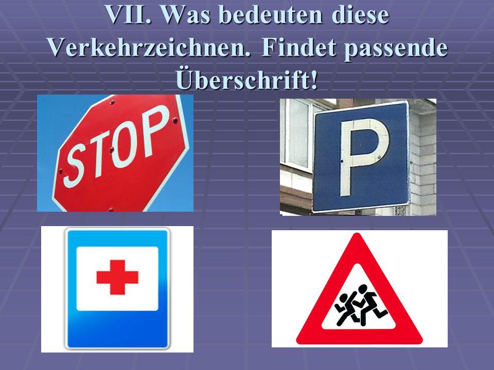 VII. Was bedeuten diese Verkehrzeichnen. Findet passende Überschrift!