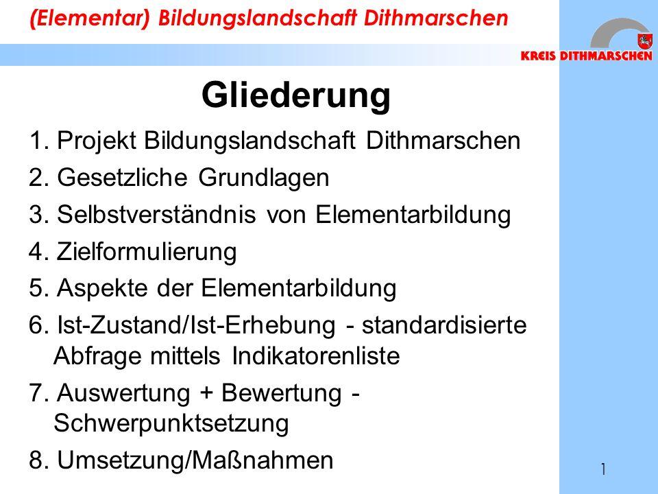 Gliederung 1. Projekt Bildungslandschaft Dithmarschen 2. Gesetzliche Grundlagen 3. Selbstverständnis von Elementarbildung 4. Zielformulierung 5. Aspek
