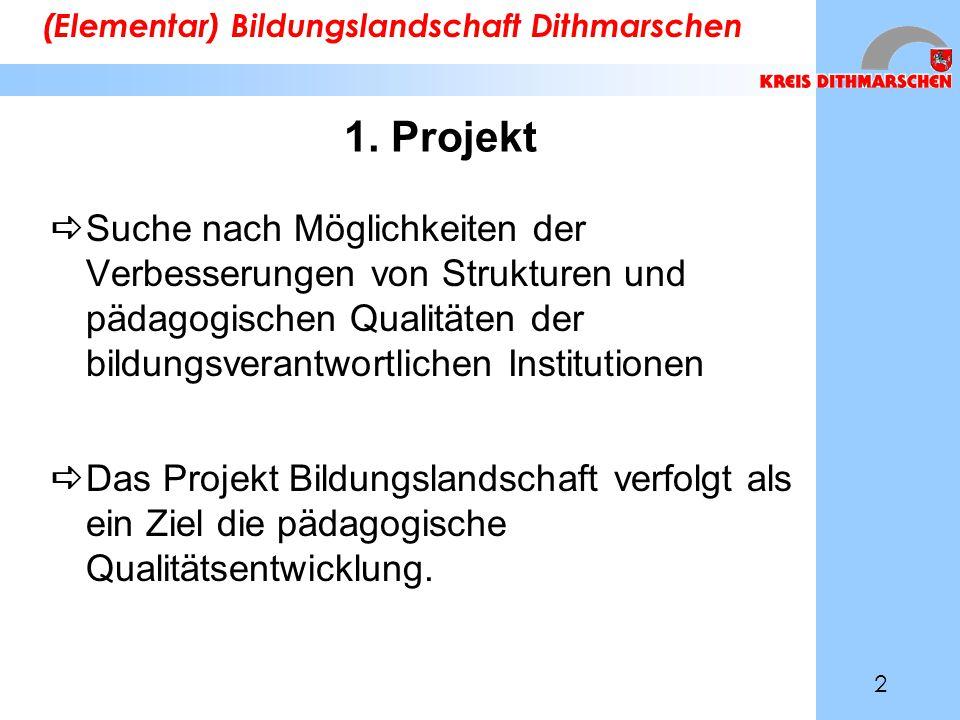 1. Projekt  Suche nach Möglichkeiten der Verbesserungen von Strukturen und pädagogischen Qualitäten der bildungsverantwortlichen Institutionen  Das