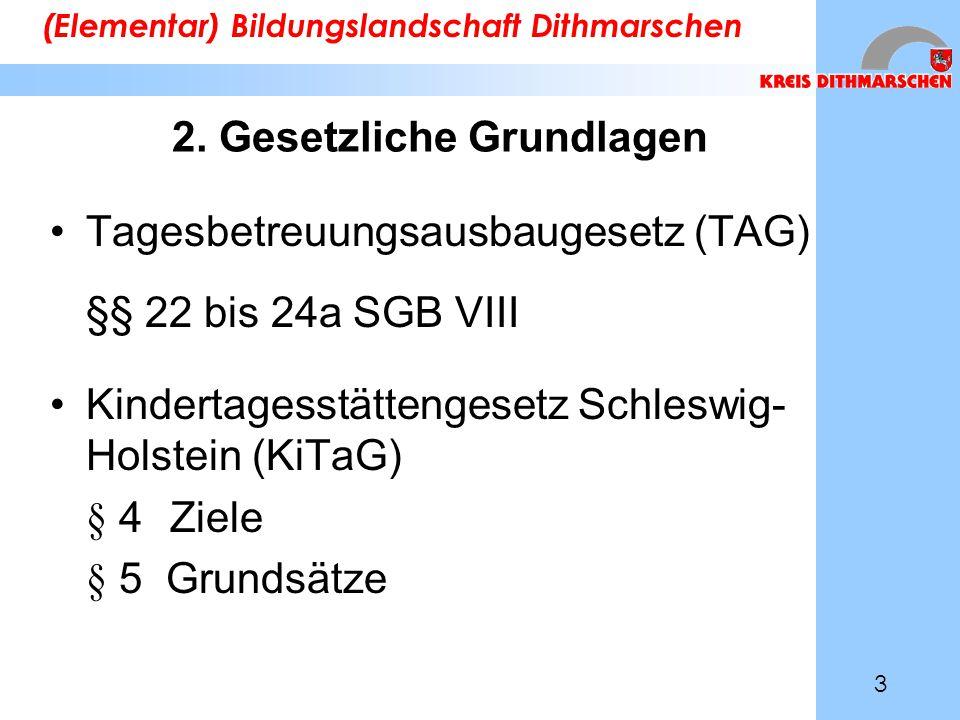 2. Gesetzliche Grundlagen Tagesbetreuungsausbaugesetz (TAG) §§ 22 bis 24a SGB VIII Kindertagesstättengesetz Schleswig- Holstein (KiTaG) § 4 Ziele § 5