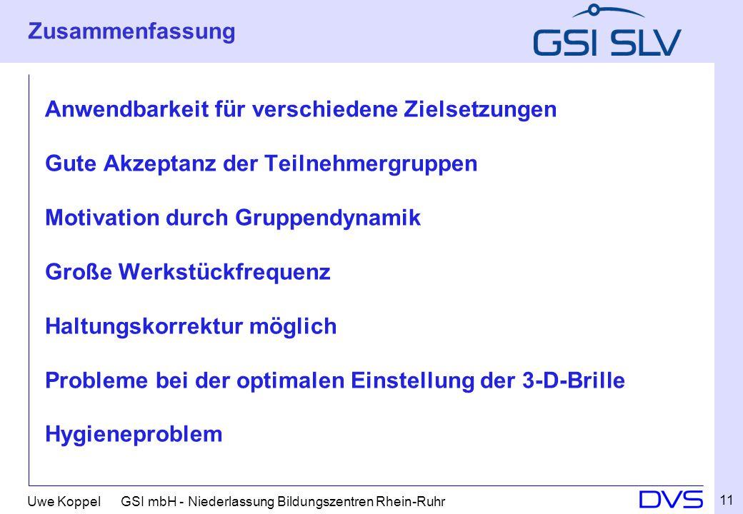 Uwe Koppel GSI mbH - Niederlassung Bildungszentren Rhein-Ruhr Zusammenfassung Anwendbarkeit für verschiedene Zielsetzungen Gute Akzeptanz der Teilnehm