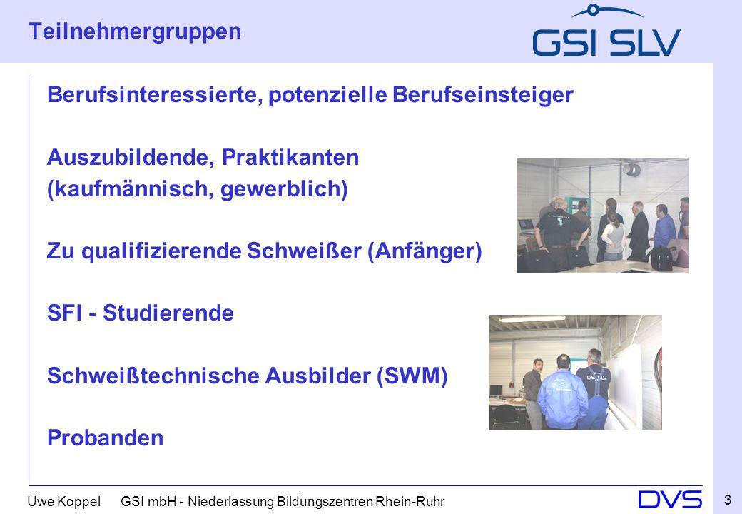 Uwe Koppel GSI mbH - Niederlassung Bildungszentren Rhein-Ruhr Teilnehmergruppen Berufsinteressierte, potenzielle Berufseinsteiger Auszubildende, Prakt
