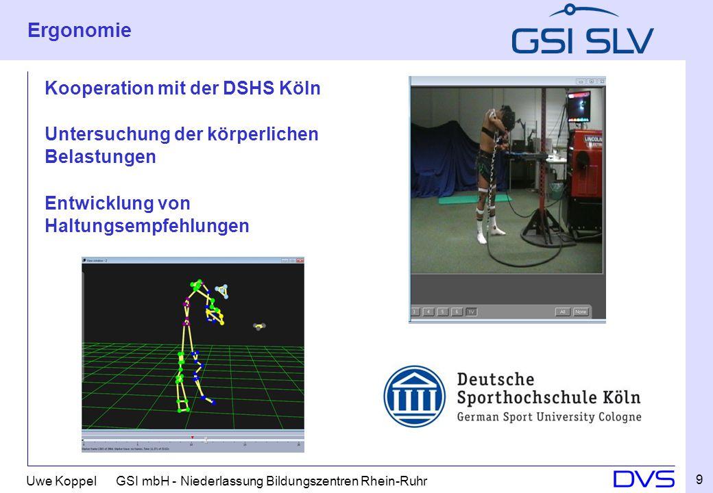 Uwe Koppel GSI mbH - Niederlassung Bildungszentren Rhein-Ruhr Ergonomie Kooperation mit der DSHS Köln Untersuchung der körperlichen Belastungen Entwic