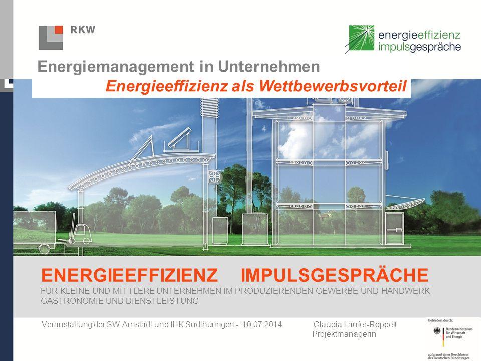 AGENDA 1.Vorstellung RKW Thüringen 2.Energieeffizienz Impulsgespräche - Ziele / Nutzen / Ablauf 3.Erfahrungen 4.Praxisbeispiele 5.Förderung 6.Fazit
