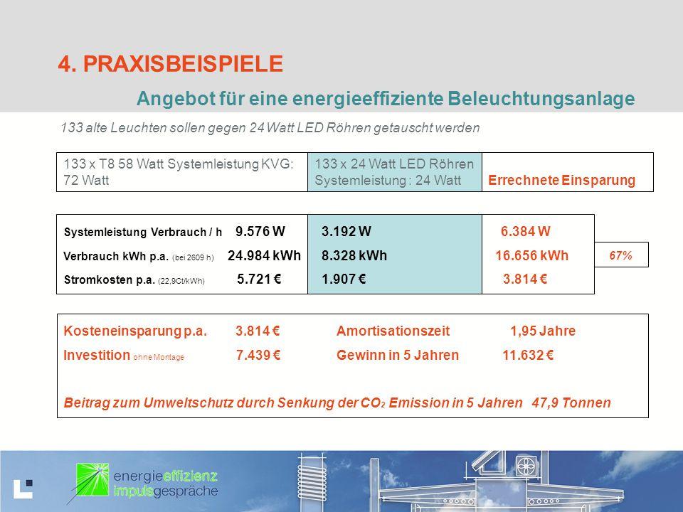 4. PRAXISBEISPIELE Angebot für eine energieeffiziente Beleuchtungsanlage 133 alte Leuchten sollen gegen 24 Watt LED Röhren getauscht werden 133 x T8 5